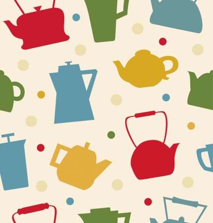 teatime: Colorful pattern with different teapots. Kettles backdrop. Seamless kitchen tracery can be used for prints, tablecloths, wallpapers, web pages, crafts