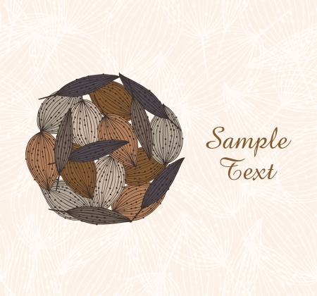 Decorative circle template for design. Ornate floral autumn card with leafs and place for texts. Can be print on cups, bags, souvenirs