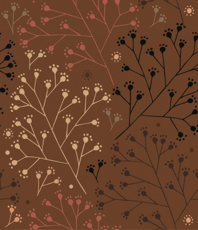 Floral brown autumn pattern with dots berry. Branches seamless background
