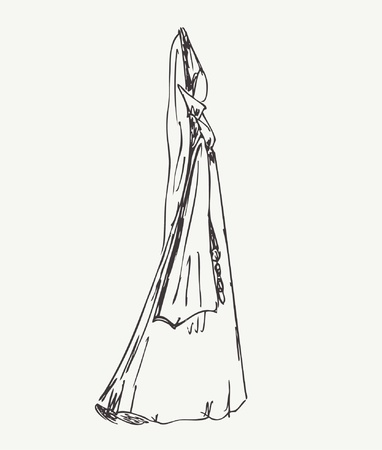 victorian people: Image of woman in medieval historical clothes. Lady in gothic style dress. Hand drawn linear woman silhouette