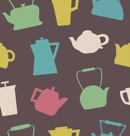 Pattern with different teapots. Kettles background. Seamless kitchen tracery can be used for prints, tablecloths, wallpapers, web pages, crafts, cups, bags  Vector