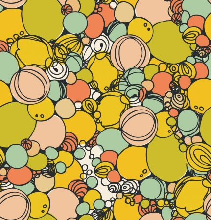 psychoanalysis: Seamless abstract hand-drawn bubble pattern, decorative circle background. Seamless pattern can be used for wallpaper, pattern fills, web page background, surface textures. Gorgeous geometric backdrop  Illustration