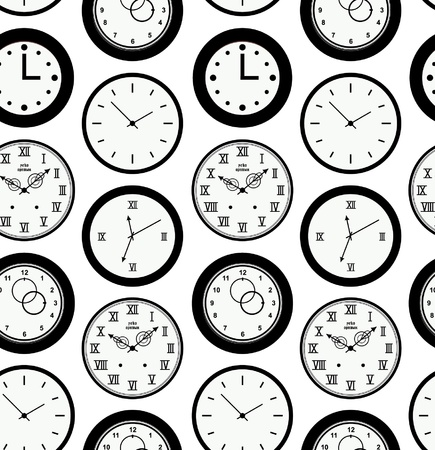 Seamless black pattern texture with contours of round clocks. Time outline background