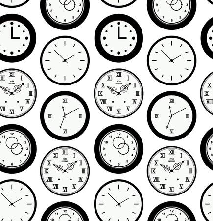 office clock: Textura Seamless patr�n negro con contorno de los relojes redondos. Tiempo de fondo resumen Vectores