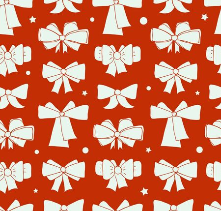 Seamless Christmas background with bows. Endless holiday red pattern for textile, web pages background, crafts, packaging papers, gifts  Vector