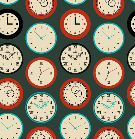cover background time: Seamless pattern texture with round clocks. Time background  Illustration