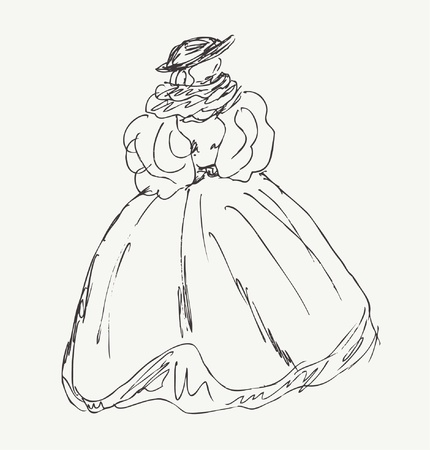 puffed: Sketch of woman in historical ball dress. Lady in vintage dress with puffed sleeves. Hand drawn baroque woman silhouette