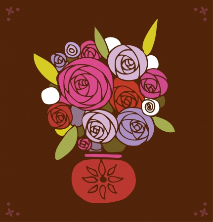 Stylized bouquet of roses in pot. Decorative design elements for gifts, invitations, arts, crafts. Floral template with many details. Flowers in vase Vector