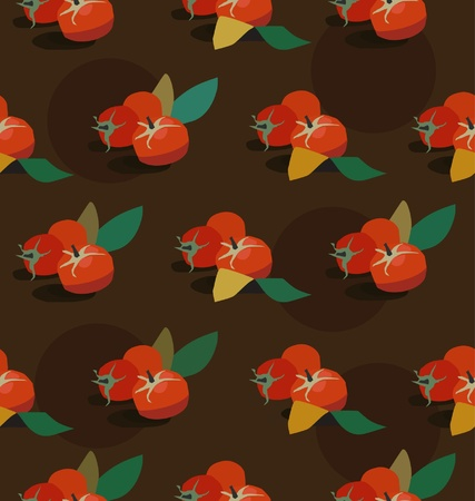 Tomato seamless background. Vegetable endless pattern  Vector