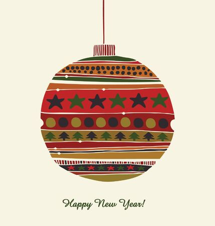 Christmas toy  Greeting template for Christmas design  Happy New Year card  Decorative detail for Christmas tree  Vintage card with Christmas balls Stock Vector - 16133922