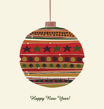 Kerstmis speelgoed Groet sjabloon voor het ontwerp van Kerstmis Gelukkig Nieuwjaar kaart decoratieve details voor kerstboom Vintage kaart met kerstballen Vector Illustratie