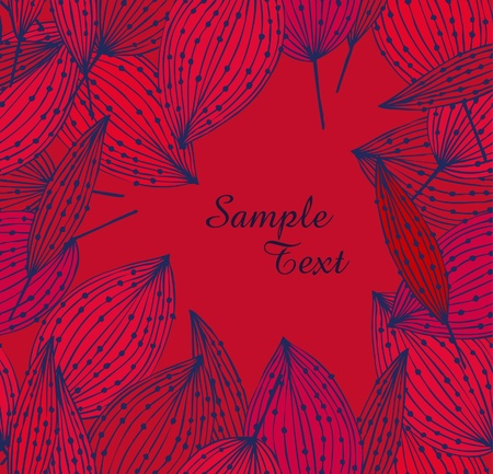 Pink floral banner with leafs  Vintage template for cards, crafts, gifts, arts, covers  Drawn linear background with place for text Stock Vector - 16133941