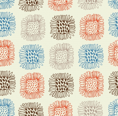 Bright seamless floral pattern. Background with sunflowers. Abstract hand drawn texture. Tablecloth  Illustration