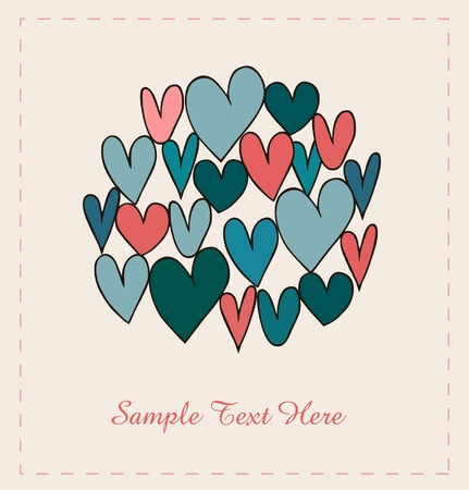 chalk outline: Decorative hearts in circle. Doodle elements for scrapbooking, gifts, arts, crafts, prints. Cartoon hand drawn background