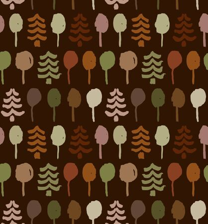 Endless drawn pattern with trees. Painting abstract nature tracery. Spruces. Autumn forest texture for clothes, wallpapers, web pages background  Vector
