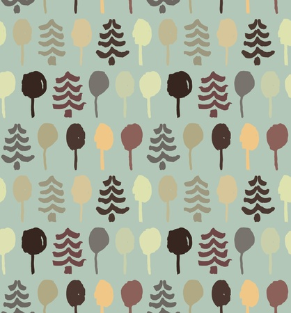 Endless drawn pattern with trees  Painting abstract nature tracery  Spruces  Beige texture for clothes, wallpapers, web pages background  Vector