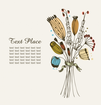 Hand getrokken uitstekende banner met bos bloemen en plaats voor uw tekst kunt gebruiken voor kaarten, kunst, uitnodigingen herfst bloeien achtergrond