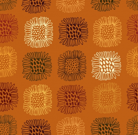 Seamless floral pattern  Background with sunflowers  Abstract hand drawn texture Stock Vector - 16236385