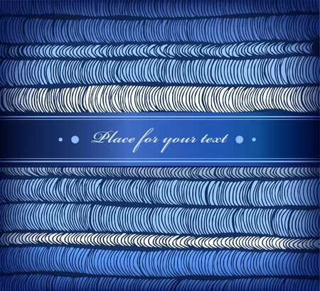 satiny: Winter blue bounded banner with satiny ribbon with place for your text  Illustration