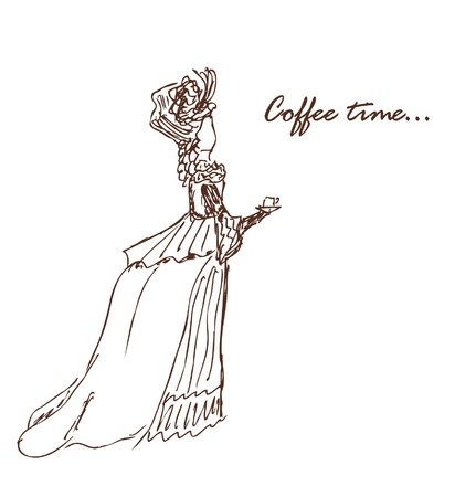 Coffee time image  Sketch of woman in retro clothes with cup  Vector