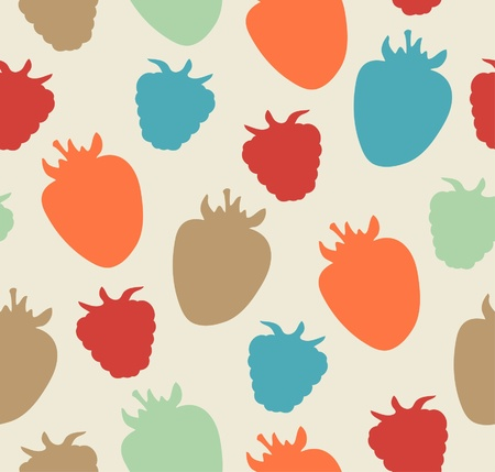 Seamless berries pattern  Childish floral texture  Vector