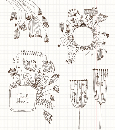 Set of flowers sketches on the school background in grunge style  Stock Vector - 16236370