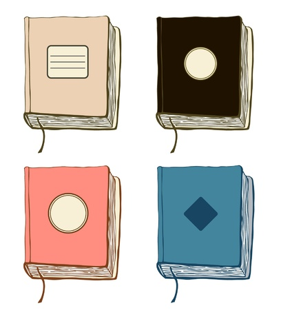 Set with sketches of books. collection of hand drawn covers. Copybooks templates Illustration