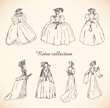 Set met schetsen van de vrouw in retro kleding. Dames in historische bal jurken. Drawn collectie van vrouwen silhouetten. Hand getrokken collectie van moderne vrouwen silhouet voor tijdschriften, boeken, kaarten