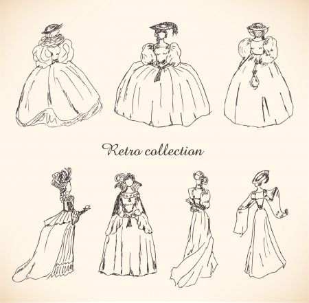 Set with sketches of women in retro clothes. Ladies in historical ball dresses. Drawn collection of women silhouettes. Hand drawn collection of modern women silhouette for magazines, books, cards
