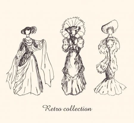 siluetas mujeres: Conjunto de bocetos de la mujer en ropa retro. Damas de vestidos de �poca. Dibujado a mano colecci�n de siluetas de las mujeres modernas