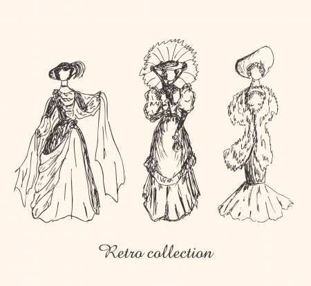 victorian lady: Set with sketches of women in retro clothes. Ladies in vintage dresses. Hand drawn collection of modern women silhouettes  Illustration