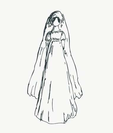 historical romance: Sketches of woman in retro clothes. Hand drawn silhouette of young girl