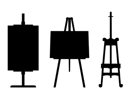 art gallery: Set of black isolated contour easels silhouettes. Icon collections of artistic instruments, props