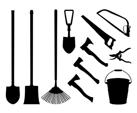 implements: Set of implements. Contour collection of instruments. Black isolated silhouettes of garden tools. Shovel, spade, axe, saw, handsaw, bucket, pail, rake garden shears
