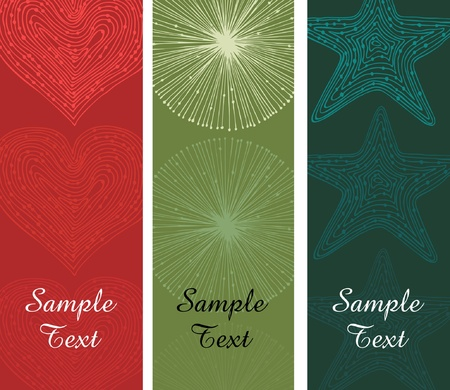 bright borders: Collection of abstract banners. Set of bright borders with place for text. Elements for design with stars, hearts and circles can be print on cards, gifts, invitations, labels