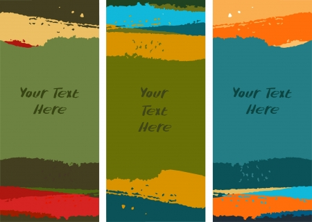 grungy header: Set of colorful paint banners. Collection of watercolor borders. Artistic templates for design with place for text