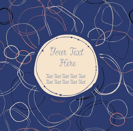 Blue seamless text banner with hand-drawn circles   Texture behind the circle panel is complete and seamless   Can be used for arts, gifts, greeting cards Stock Vector - 16433059