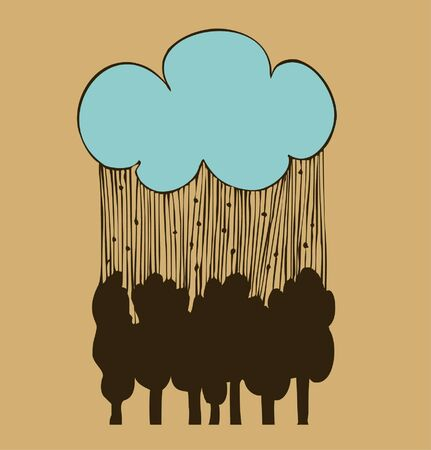 Cloud, rain and forest, icon, pictogram, black silhouette of the trees  Linear outline of the decorative landscape  Vector