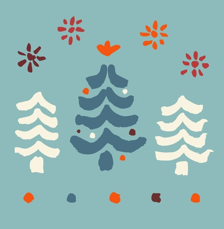 Decorative childish illustration with spruces and snowflakes  Paint Christmas Tree  Xmas  Hand drawn elements for design greeting cards, arts, prints on cups, bags, souvenirs Stock Vector - 16433028
