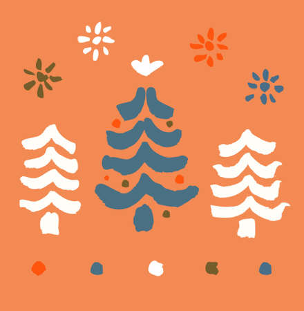 Decorative painted illustration with spruces and snowflakes  Paint Christmas Tree  Xmas  Hand drawn elements for design greeting cards, arts, prints on cups, bags, souvenirs  Vector