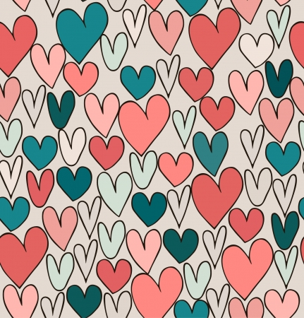 Endless bright abstract love pattern. Cute cartoon backdrop with hand drawn hearts. Textile surface texture Vector