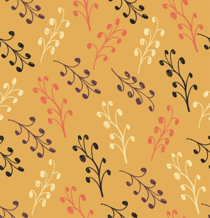 Floral autumn abstract pattern. Seamless background with leafs. Drawn texture  Stock Vector - 16433039