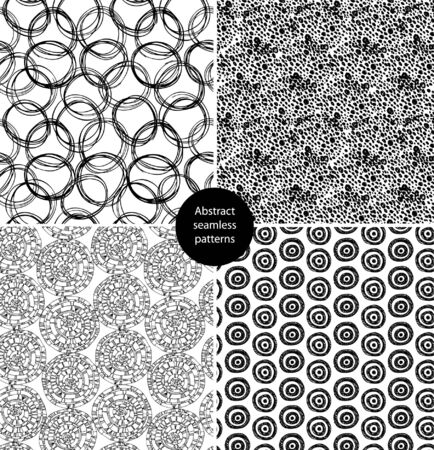 Seamless abstract background black set. Endless patterns with round elements and dots. Cartoon for arts, cards, textile, wallpapers, web pages Stock Vector - 16433091