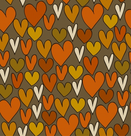 Seamless abstract love pattern. Doodle background with different hearts. Printing texture  Vector