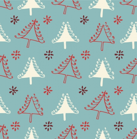 Seamless Christmas pattern. Endless texture with decorative spruces. Abstract holiday background  Vector