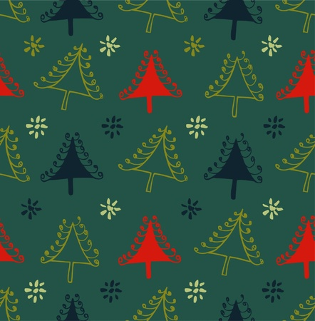 Seamless colorful pattern with Christmas trees. Xmas texture with decorative spruces. Abstract holiday backdrop for crafts, prints, wallpapers Vector