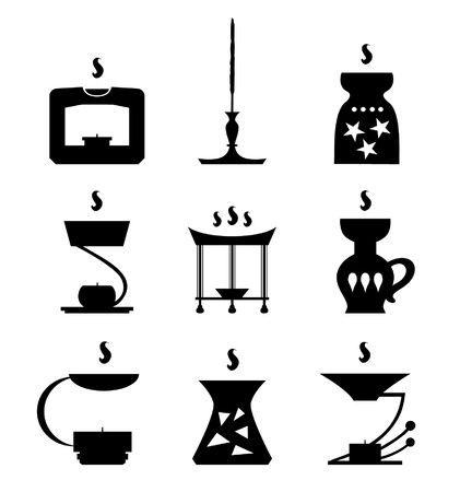 Set of aroma lamps SPA icons. Aromalamps. Collection of black spa silhouettes of aroma candles. Aromatherapy contour elements for design  Illustration