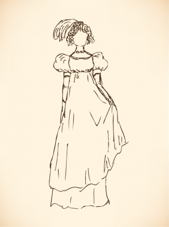 frenchwoman: Sketch of woman in Empire style dress. Lady in modern dress. Hand drawn romantic woman silhouette