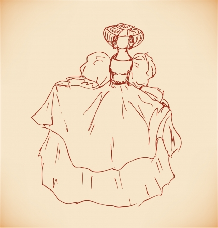 Sketch of woman in historical ball dress. Lady in vintage dress. Hand drawn romantic woman silhouette Stock Vector - 16433083