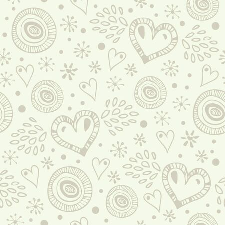 Abstract light decorative seamless background with many details. Endless doodle pattern